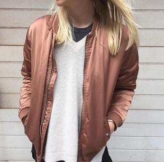 jacket bomber jacket bronze pink brown beige shiny shiny bomber jacket coat