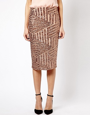 Island | River Island Sequin Pencil Skirt at ASOS