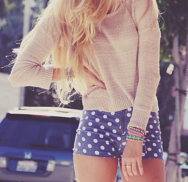 shorts sweater polka dot jean High waisted shorts brandy melville fall outfits