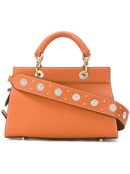 studded women leather brown bag