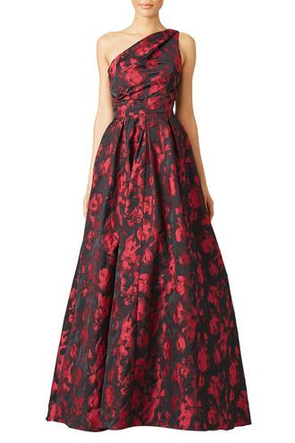 dress formal dress prom dress gown red black floral one shoulder