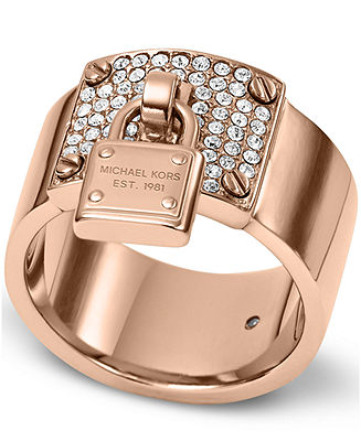 Michael Kors Rose GoldTone Crystal Plaque and Padlock Ring