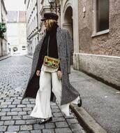 coat,long coat,checkered,wool coat,wide-leg pants,white pants,shoes,crossbody bag,cap