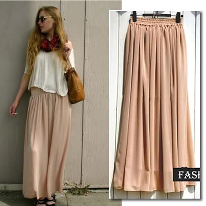 Beige Chiffon 2 Layers Maxi Skirt XS s M L XL XXL | eBay