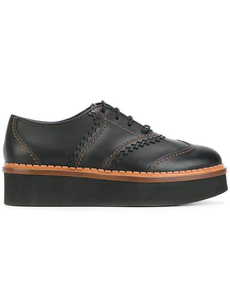 TOD'S women shoes platform shoes lace leather black
