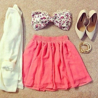 white floral flowers high heels heels pointy toe heels lace coral pink skirt sweater jewels swimwear shoes top