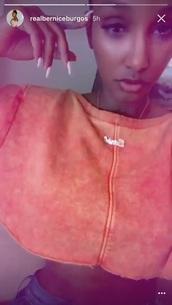 top,bernice burgos,snapchat,orange,instagram,crop tops,cute