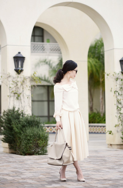 hallie daily blogger midi skirt off-white leather bag white top top skirt bag sunglasses shoes