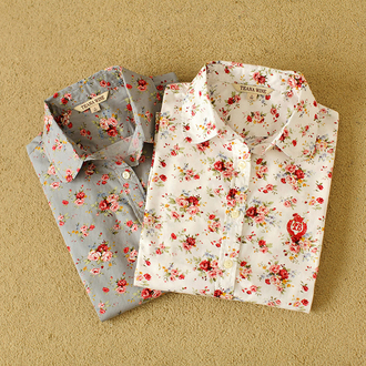 shirt cotton blouse spring shirt long sleeve shirt cotton cotton shirt floral shirt