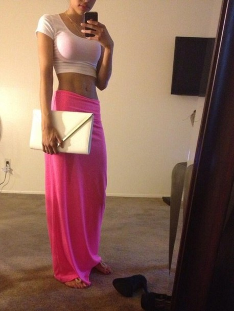 Skirt: pink, maxi skirt, long skirt, hot pink, skinny, shirt ...