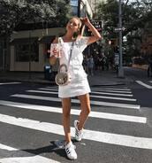 skirt,tumblr,mini skirt,white skirt,skirt with suspenders,top,white top,off the shoulder,off the shoulder top,sneakers,white sneakers,shoes