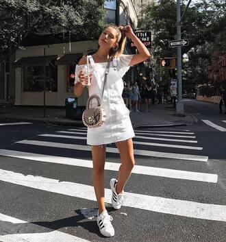 skirt tumblr mini skirt white skirt skirt with suspenders top white top off the shoulder off the shoulder top sneakers white sneakers shoes
