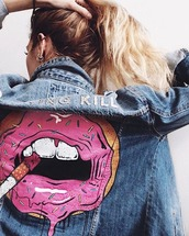 jacket,denim jacket,denim,smoking kills,love,fashion,wow,i want this beauty,weheartit,i just love it,lipstick,cigarette,denim vest,spring jacket