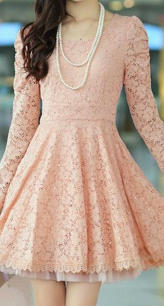 Long sleeve lace sequins lace high quality cultivate one's morality dress