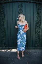 damsel in dior,blogger,dress,bag,jacket,high heel sandals,midi dress,blue dress,summer outfits