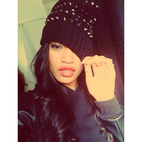 hat keke palmer spiked hat black beanie