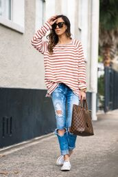 top,weekend outfits,striped top,stripes,jeans,ripped jeans,sneakers,converse,white converse,white sneakers,bag,louis vuitton bag,louis vuitton,sunglasses,tortoise shell sunglasses,spring outfits