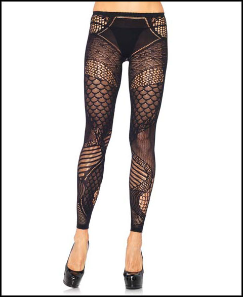 Multi Pattern Footless Tights - Leggings