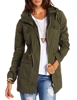 Long Hooded Anorak Jacket: Charlotte Russe