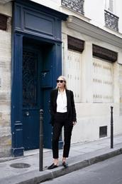 victoria tornegren,blogger,sunglasses,jacket,pants,shoes,suit,mules,shirt