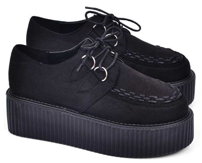 Black Women's Faux Suede Lace Up Punk High Platform Flat Creeper Shoes US5 10 | eBay