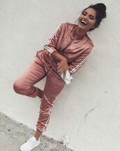 jumpsuit,rose gold,addias sweater,adidas tracksuit,adidas,jacket,pants,silk,satin,pink,adidas sweatsuit,joggers,track suit,any colour,cute,dope,joggers pants,adidas shoes,adidas tracksuit bottom,adidas jacket,two piece muave set,skirt,adidas sportswear,womens sportswear,silk tracksuit