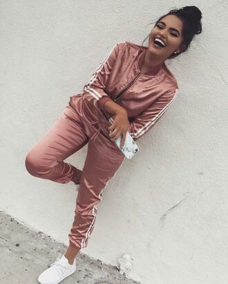 jumpsuit rose gold addias sweater adidas tracksuit adidas jacket pants silk satin pink adidas sweatsuit joggers track suit any colour cute dope joggers pants adidas shoes adidas tracksuit bottom adidas jacket two piece muave set skirt adidas sportswear womens sportswear silk tracksuit