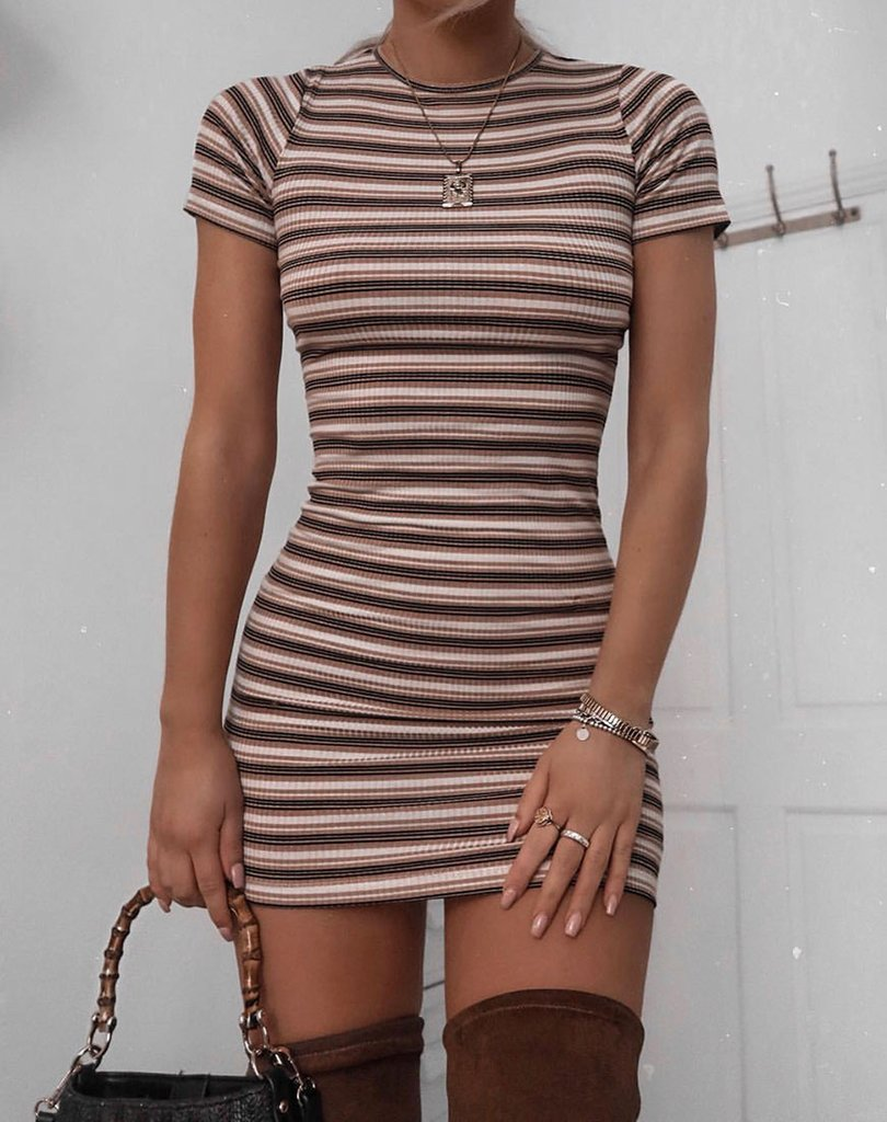 Whitley Bodycon Dress in Rib Stripe Cream Black and Tan by Motel