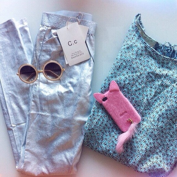 blouse blue floral white pants silver metallic pants tights jeans leggings sunglasses karen walker fake pink fluffy phone cover iphone cat tail iphone case bag