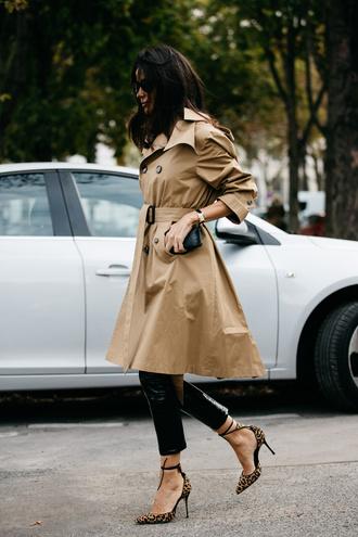 coat tumblr camel coat beige coat trench coat black leather pants leather pants black pants high heels animal print leopard print fall outfits