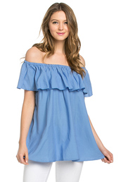 top,periwinkle ruffled off the shoulder