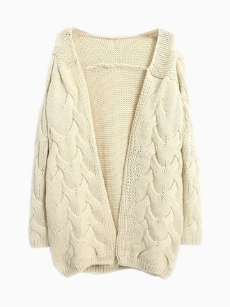 sweater cardigan beige cream choies cute knit chunky knit chunky sweater winter outfits winter sweater