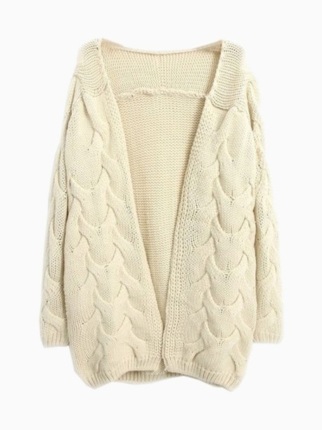 Sweater: cardigan, beige, cream, choies, cute, knit, chunky knit ...