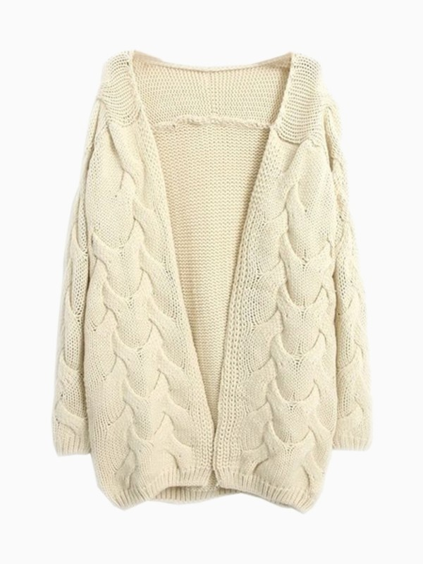 sweater cardigan beige cream Choies cute knit chunky knit chunky sweater winter outfits winter sweater