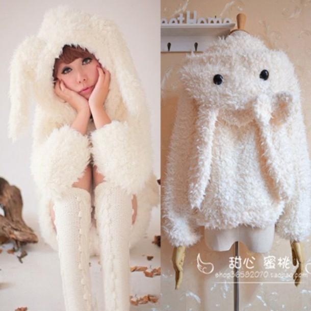 Sweater Bunny Bunny Bun Jacket Coat Hoodie Onesie Kigurumi