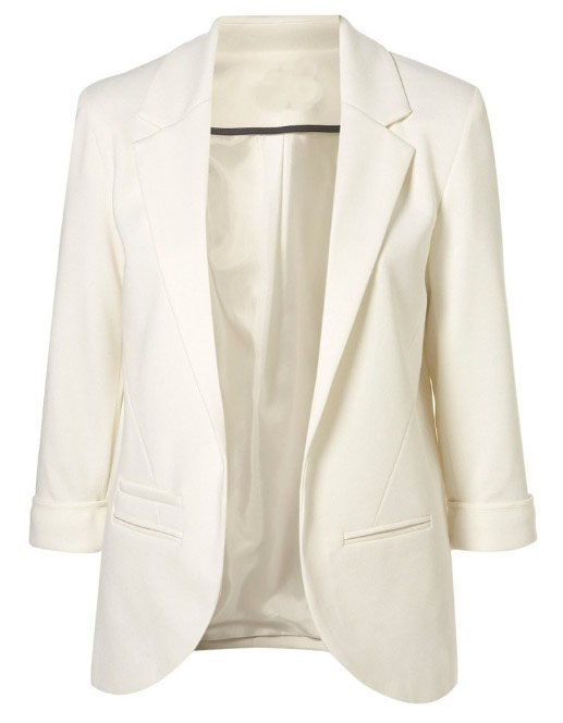 White Boyfriend Ponte Rolled Sleeves Blazer - Sheinside.com