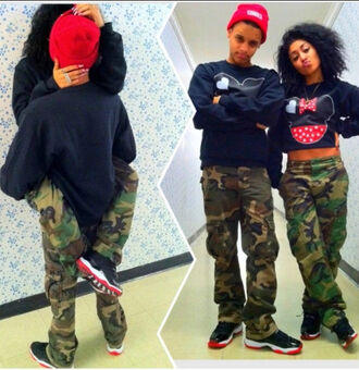 pants swag afro american camouflage top