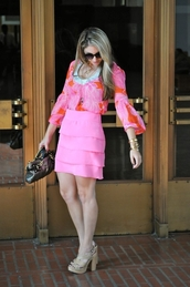 skirt,all pink everything,All pink outfit,mini skirt,pink skirt,top,pink top,flare top,long sleeves,sunglasses,bag,high heel sandals,sandals,nude sandals,summer outfits