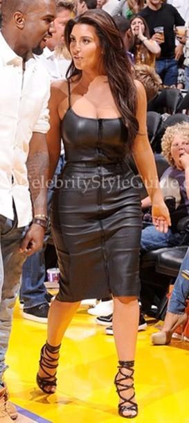 Dress Leather Black Long Thin Straps Kim Kardashian Zip