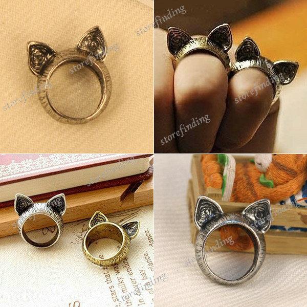 Hot Korean Retro Vintage Cute Silver Brass Cat Ears Ring Animals Free Ship | eBay