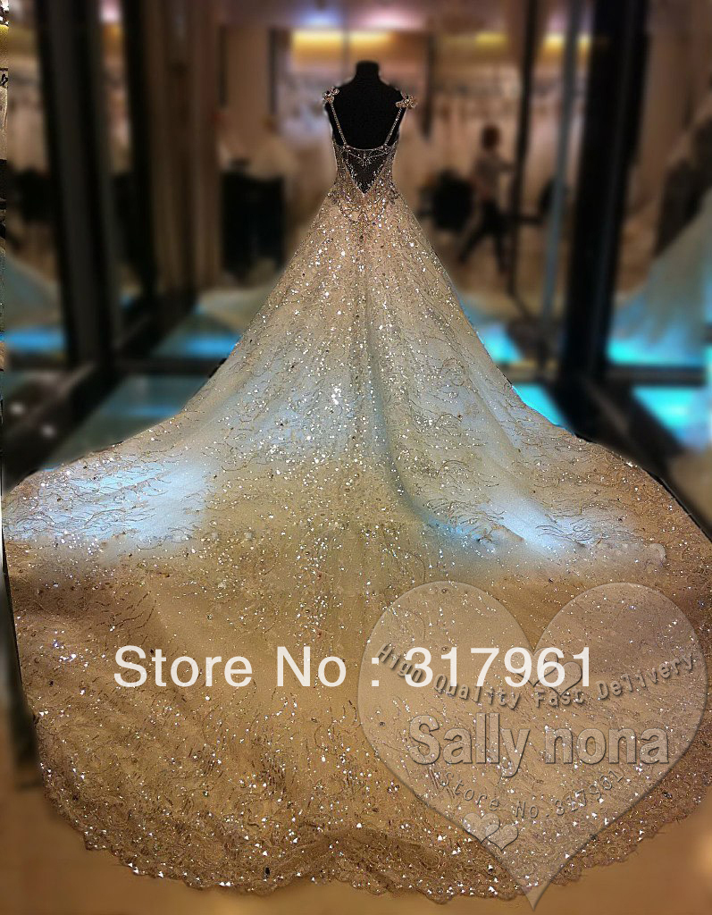 Luxury Bridal Gowns Picture - More Detailed Picture about Luxury Princess Bridal Gowns Thousands of Shiny Swarovski Crystals A Line Royal Train Gorgeous Amazing Wedding Dresses 2013 Picture in Wedding Dresses from Sally nona dresses