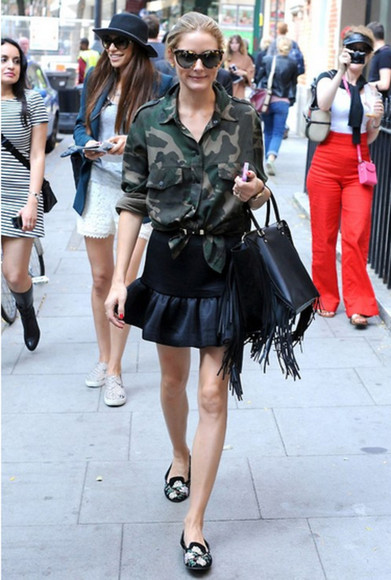 olivia palermo fashion week 2014 shirt military skirt camouflage flats