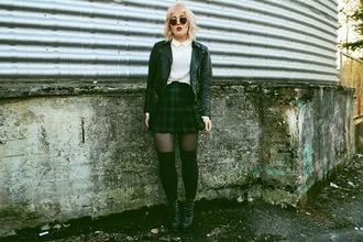 thelma malna blogger white blouse plaid skirt pleated skirt leather jacket grunge shoes