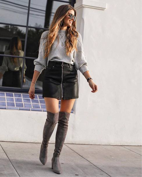 skirt tumblr mini skirt zip zipped skirt boots over the knee boots over the knee grey boots sweater grey sweater