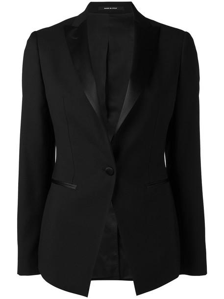 TAGLIATORE blazer open women black wool jacket