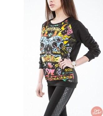 sweater black black sweater pattern print swetshirt summer winter sweater winter outfits