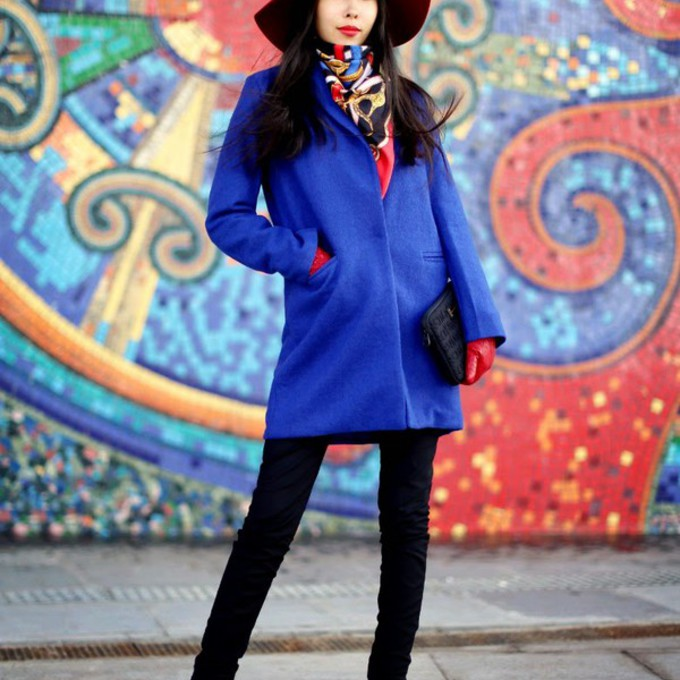 coat blue aibina's blog blogger felt hat pouch gloves scarf red