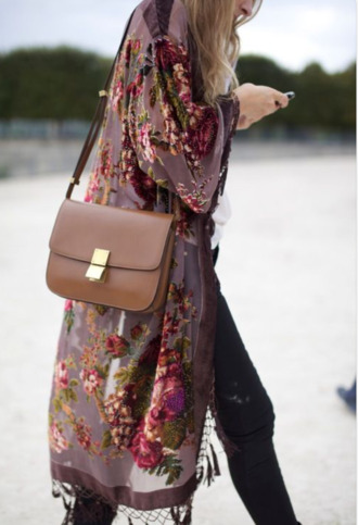 jacket blouse long cardigan similiar pink by victorias secret flowers cute cardigan kimono jeans floral bag brown leather bag
