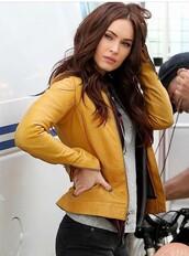 leather jacket,mustard,megan fox,jacket