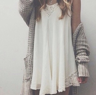 dress summer dress white dress cardigan